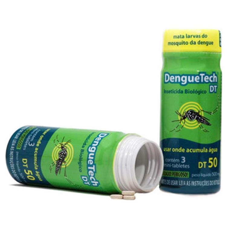 o DengueTech é um inseticida biológico que mata rapidamente as larvas com ação de até 60 dias