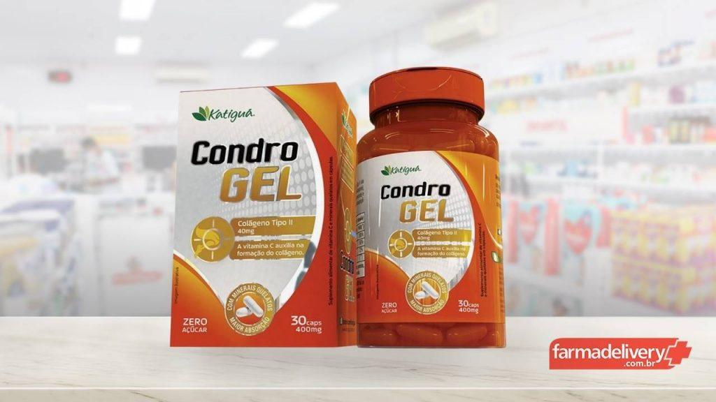 Embalagem do produto Condrogel como opção de colágeno para articulações. De fundo, representando uma farmácia. No canto inferior esquerdo, marca da Farmadelivery.