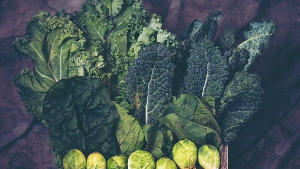 Sob uma mesa, estão dispostos folhas verdes, como por exemplo, couve, alface, couve-de-bruxelas, exemplos de verduras que fornecem vitamina para cabelos.